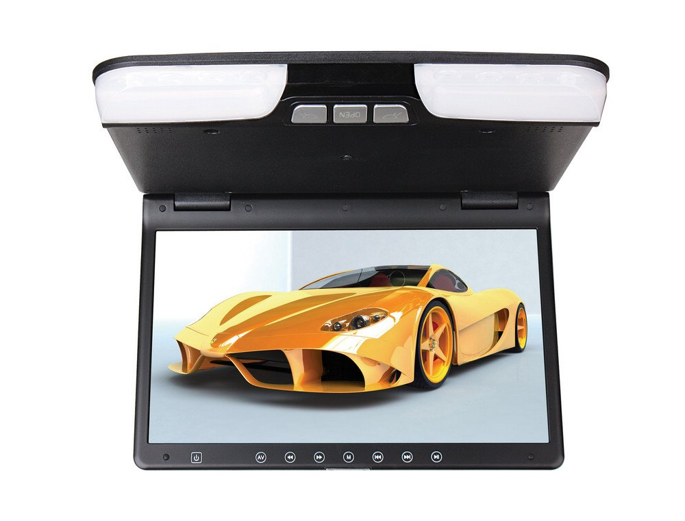 Dewel TU-156 Super Slim Roof Monitor with Built-in DVD Player, 15.6-Inch TFT-LCD High Resolution / LED / HD Display Screen, Built-in IR & FM Transmitter / Loudspeakers (Beign) by iVecle