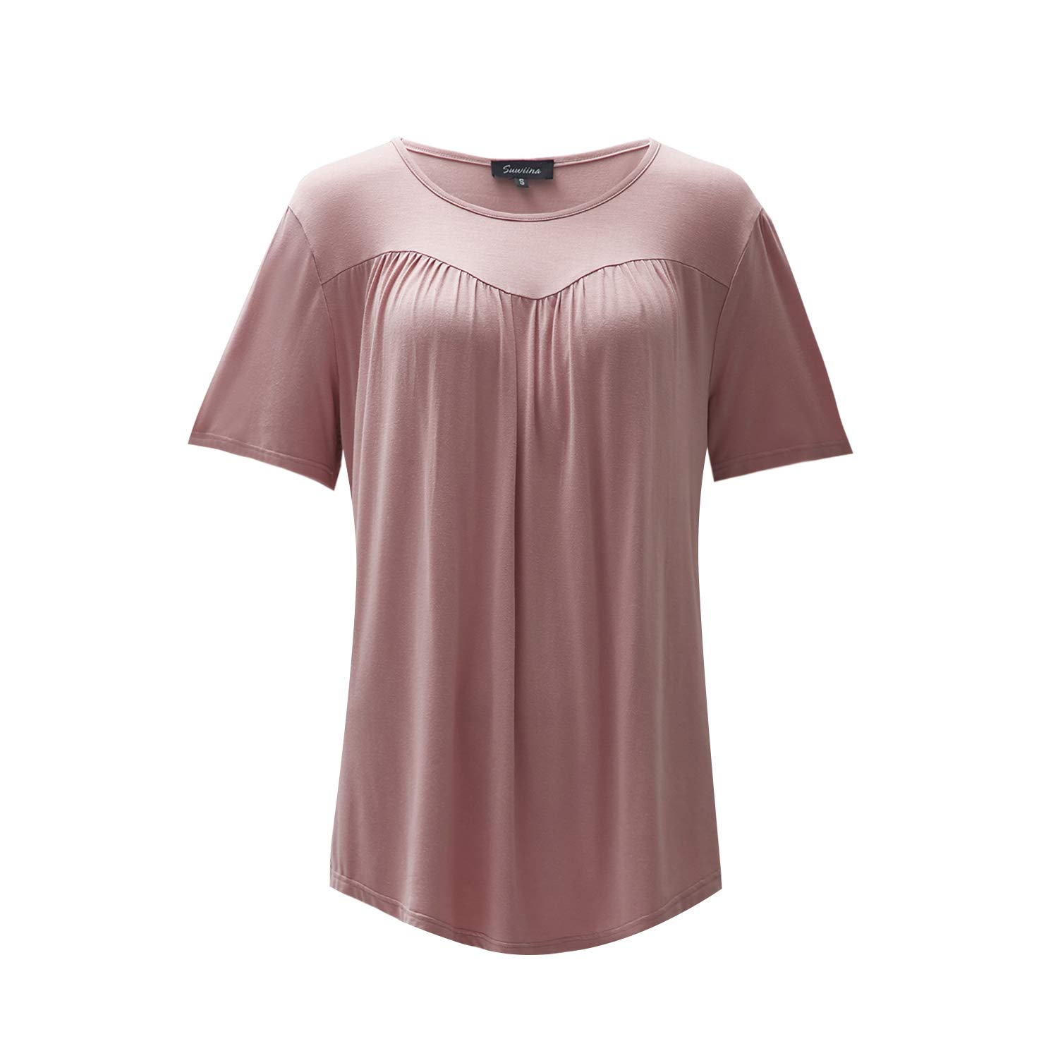 SUWIINA Women Pleated Front Short Sleeve Blouse Round Neck Casual Flare Tunic Top Shirt Pink