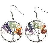 JOVIVI Women Copper Wire Wrap Gemstone Crystal Quartz Chip Bead Tree Of Life Hook Earrings Gift w/Box