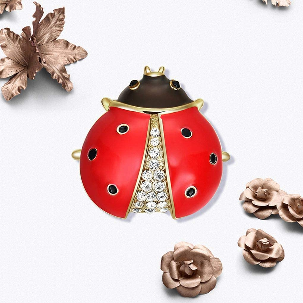 Diamoen Femmes Filles Coccinelle Broche Animal Femelle Sein Sac Badge Foulard Manteau Robe Accessoires Cristal Animaux Pin Sein