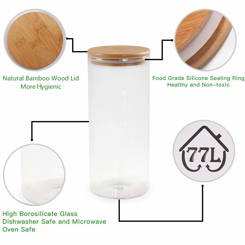 Glass Coffee Bean Container, 52.36 FL OZ (1550 ML), 77L Glass Food Storage Jar with Airtight Seal Bamboo Lid - Modern Design Clear Glass Food Storage Canister for Serving Tea, Coffee, Spice and More