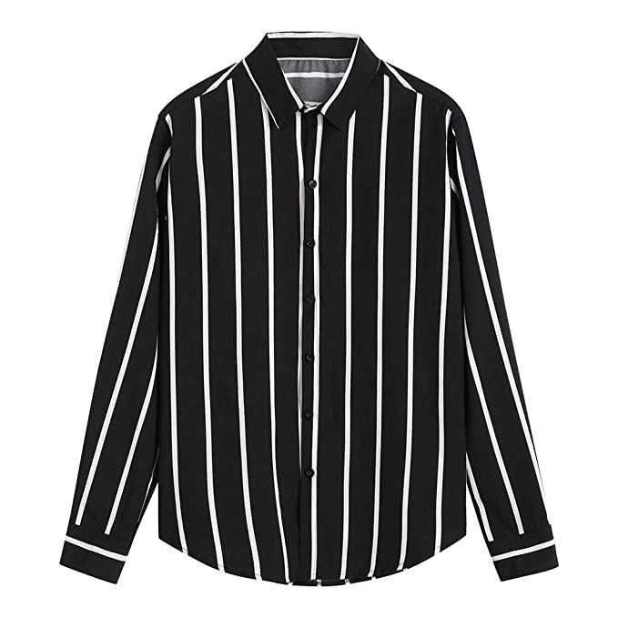 41cd6f757bd2 Hemd Herren Slim Fit   Sannysis Männer Longsleeve Streifen Hemden  Freizeithemd Businesshemd Lässige Poloshirt Anzug Tops