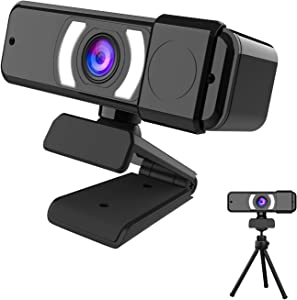 EBODA 1080P Webcam with Microphone & Privacy Cover & tripod, HD USB Web Camera for Computer/PC/Laptop, Plug and Play, 110°View,for Video Calls/Conferencing, Zoom/Skype/Teams Meetings, Gaming, Teaching