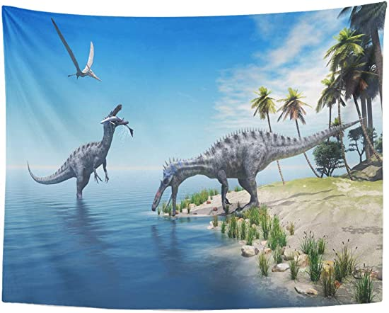 Semtomn 60 x 80 Tapestry Mandala Wall Hanging Suchomimus Dinosaurs Large Fish is Caught by While Flying Pterosaur Watches Home Decor Home Decor Tapestries Bedroom Living Room Dorm