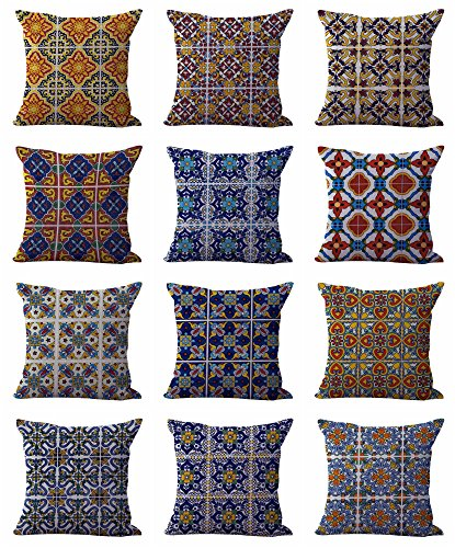 Cheap  set of 10 cushion covers Mexican Spanish talavera throw pillows covers for..