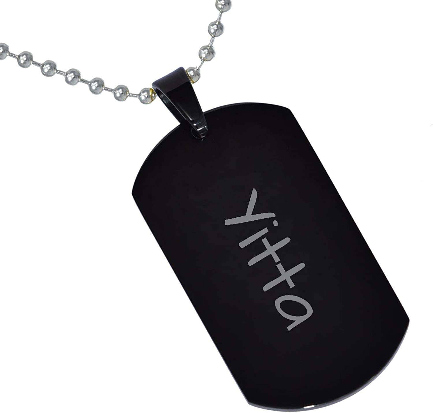 Stainless Steel Silver Gold Black Rose Gold Color Baby Name Yitta Engraved Personalized Gifts For Son Daughter Boyfriend Girlfriend Initial Customizable Pendant Necklace Dog Tags 24 Ball Chain