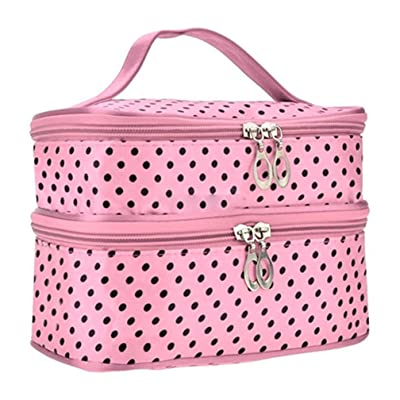 Shuohu Women's 2 Layers Travel Cosmetic Case, White Polka Dot Double-Deck Makeup Bag with Handstrap