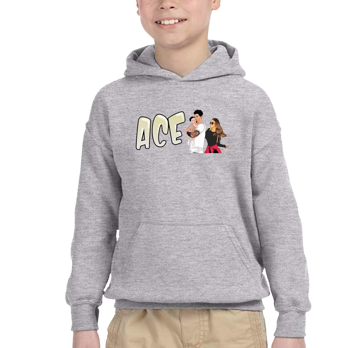 2-6 Year Old Childrens Hooded Pocket Sweater Personality Street Trend Creation ACE Family Logo Gray