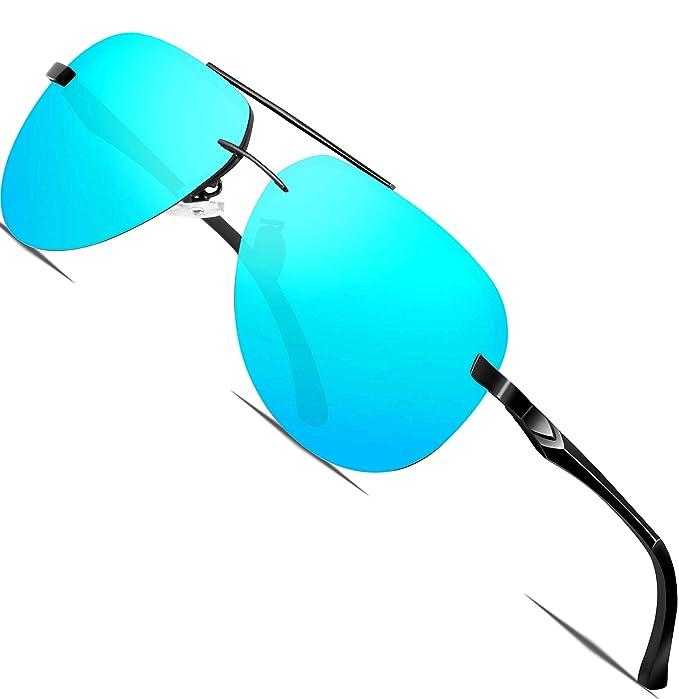 ATTCL Hombre Gafas De Sol Polarizado Uv400 Al-Mg Marco De Metal Súper Ligero A143-blue: Amazon.es: Ropa y accesorios