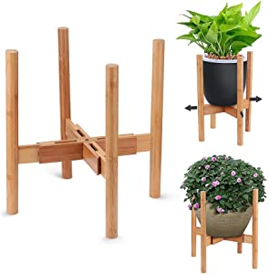 AmazeFan Adjustable Plant Stand, Mid-Century Bamboo Flower Pot Holder Fits up to 12