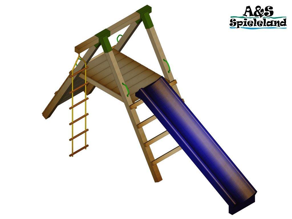 Spielturm JUNIOR 2.0 mit 2,4m Rutsche Kletterturm Strickleiter Pfosten 9x9cm