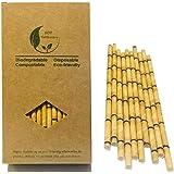 Giallo Bamboo cannucce da sostituire cannucce in plastica, 100count 100% biologico ecologico Bamboo cannucce