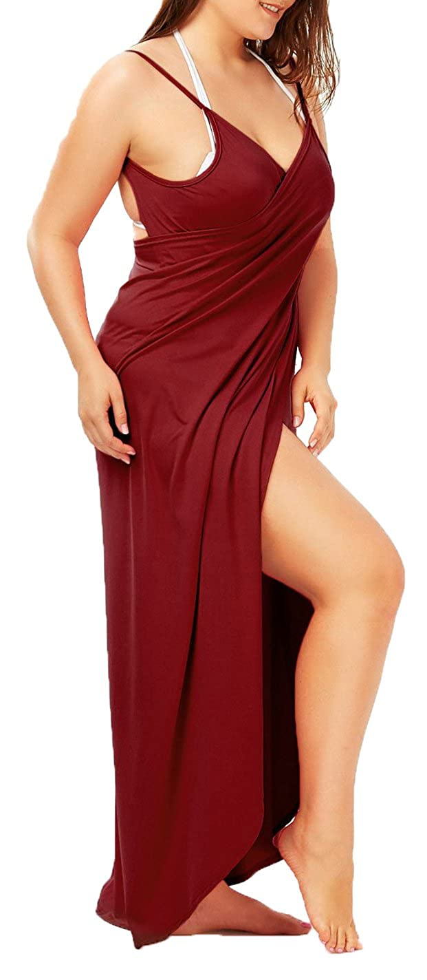 Womens Beach Cover up Plus Size Spaghetti Strap Backless Bikini Wrap Long Dress