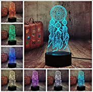 Bedside Table Lamps Valentine Wind Chimes Table Lamp Switch Dream Catcher 3D Led Touch Illusion Night Light Be