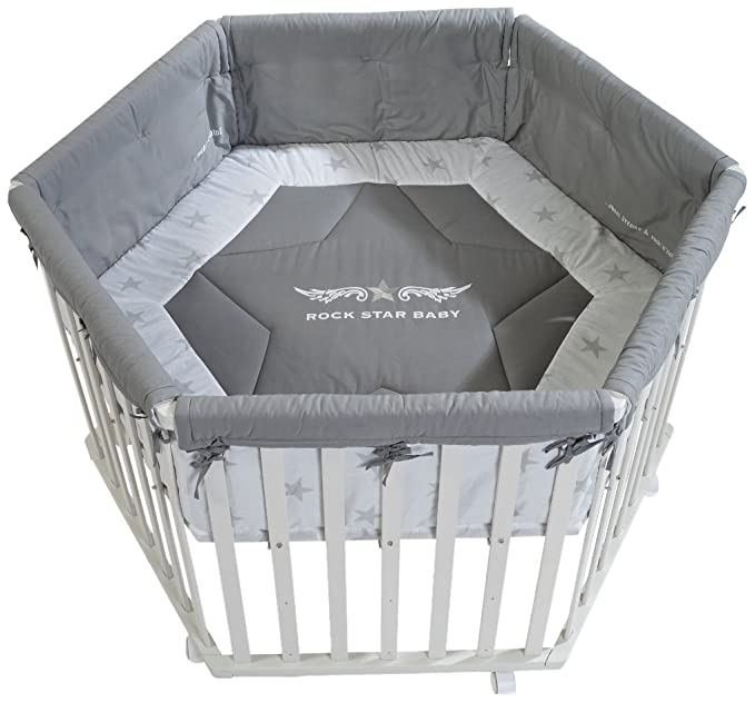 New Roba Rock Star Baby Hexagonal Wooden Playpen White And Grey Playpens & Play Yards