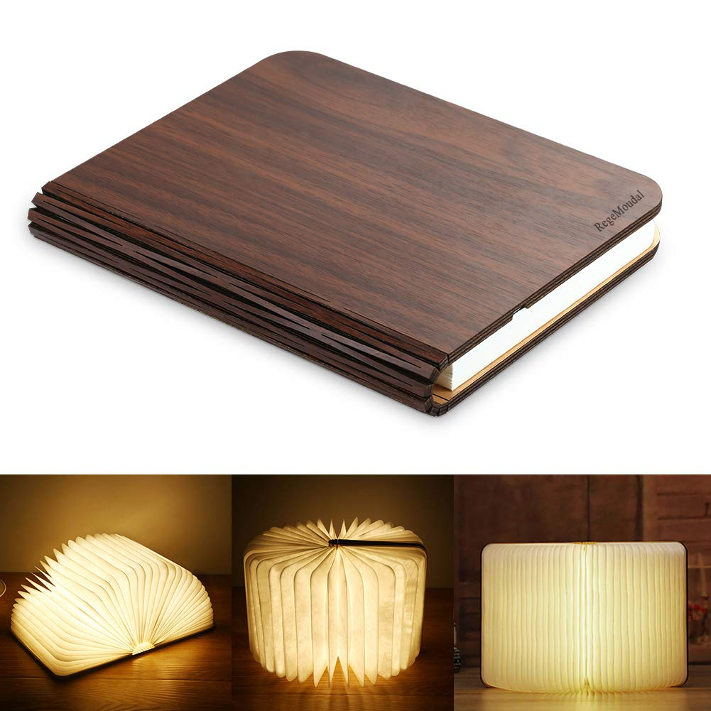 Led Book Light, RegeMoudal Wooden Book Lamp USB Rechargeable Foldable Bed Night Lights for Kids Children Parents Creative Gift Home Decor 1000mAh Lithium Batteries Rocket Roar