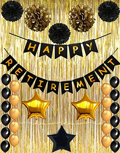 Happy Retirement Party Decorations, Vagski Black and Gold Happy Retirement Banner with Latex Balloons, Pom Poms Flowers and Gold Foil Curtain, Perfect Party Supplies for Retirement Decorations VAG010A (Decorations Party Retirement)