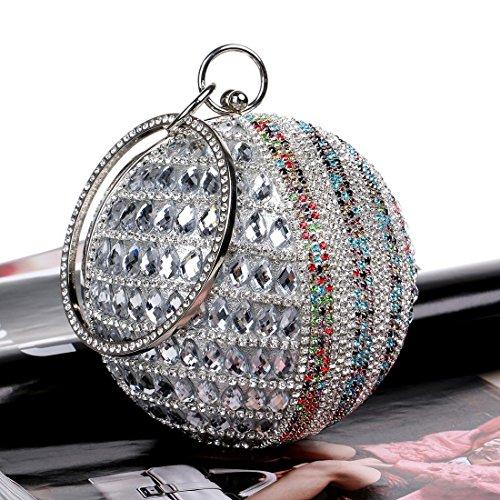 con Diamantes Black manija Rhinestones Bolsos Cadena Mujeres Las día Pequeño de Bolso Redondo de la Bolsos Bolsos de Hombro la silver de Deisng KYS Noche Embrague Noche de v1T8FwWq