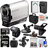 Sony Action Cam HDR-AS200VR Wi-Fi HD Video Camera Camcorder & Remote + LCD Cradle + 32GB Card + Helmet, Handlebar & Suction Cup Mounts + Battery Kit