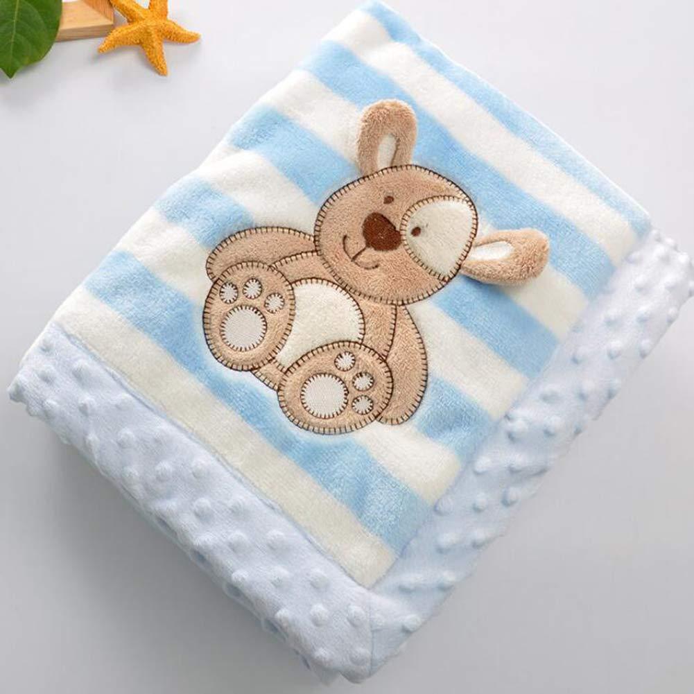 Flanella YUMU CASA spessore Baby flanella coperta doppio strato morbido coperta per neonato Cartoon design per neonati e bambini 75 * 100cm//29.5 * 39.4 inch Blue