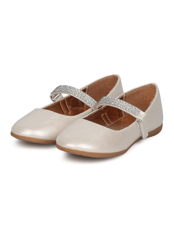 Indulge Grace-01 Girls Round Toe Rhinestone Mary Jane Ballet Flat HC74