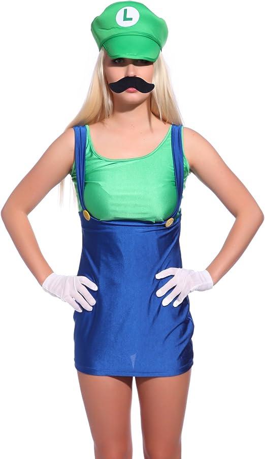 Anladia Disfraz de Luigi para Adulto Mujer Cosplay Dress Fiesta ...
