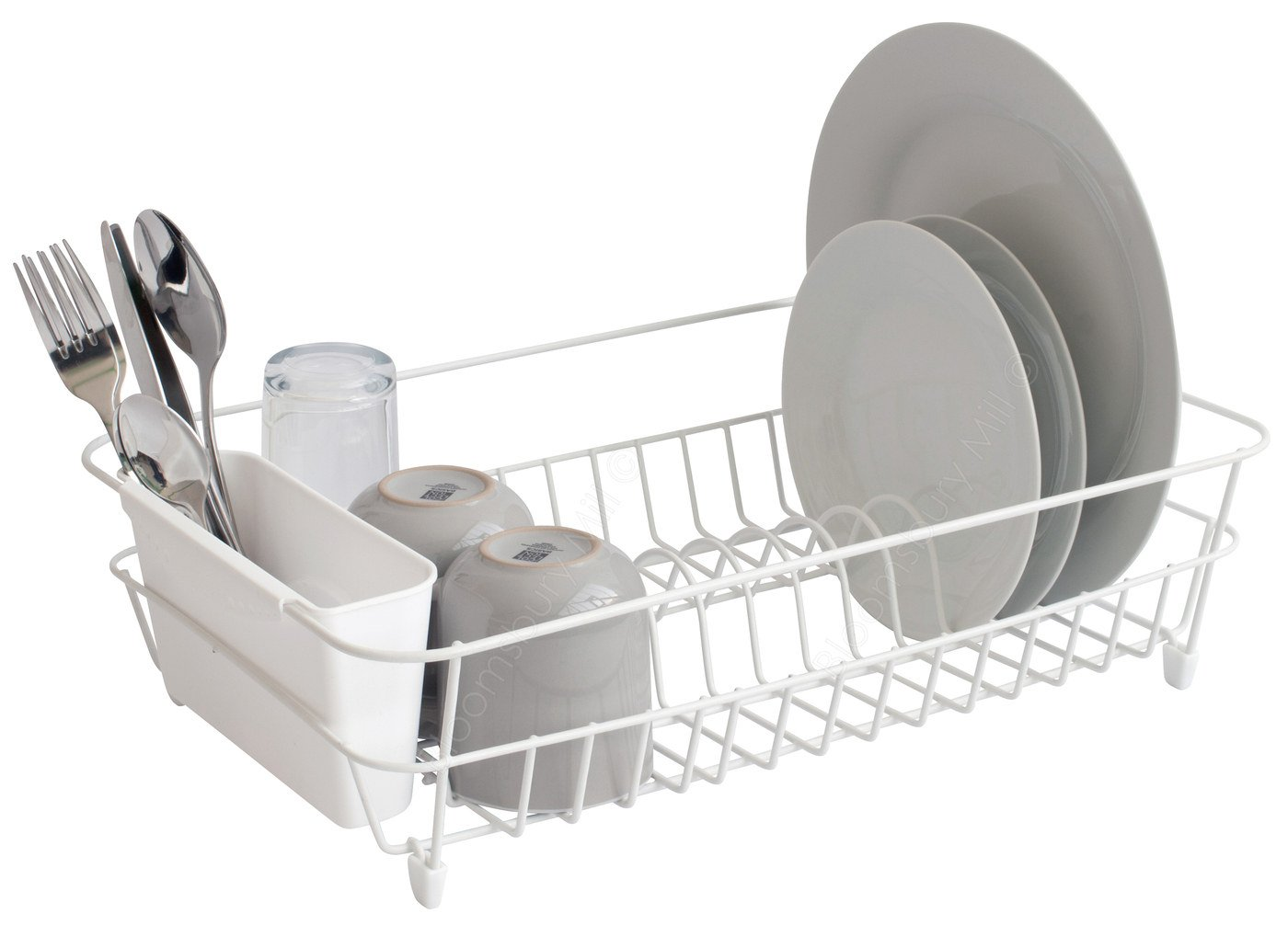 Bloomsbury Mill - White Wire Dish Drainer - Plate Drying Rack with Cutlery Holder Basket - Anti-Rust  sc 1 st  eBay & Bloomsbury Mill - White Wire Dish Drainer Plate Drying Rack with ...