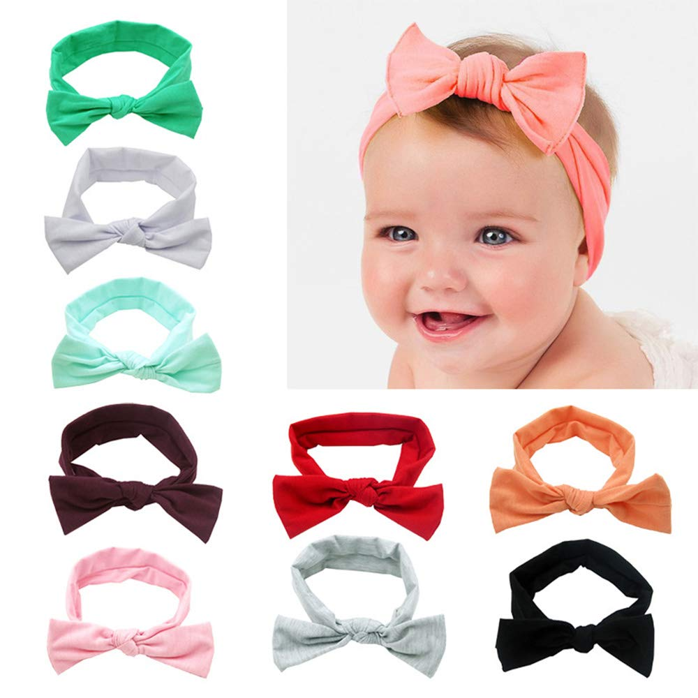 Meiyiu Toddlers Baby Girl Elastic Hair Band with Lovely Bowknot Solid Color Bow Headband 9 Colors Available Multicolor