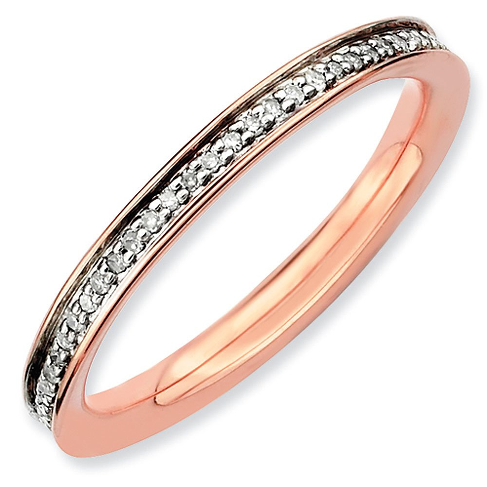 2.25mm Pink Plated Sterling Silver Stackable Expressions Diamond Eternity Ring - Size 10
