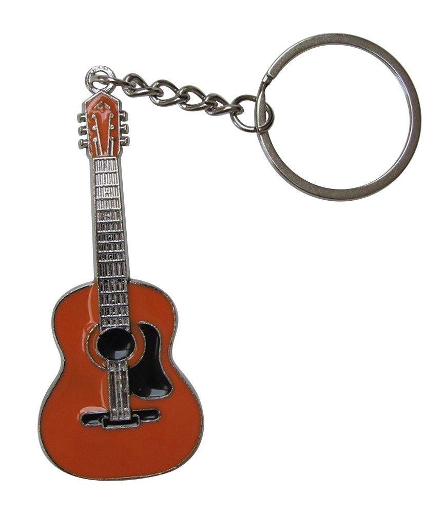Llavero de acero plateado estilo guitarra acùstica. (Blanco): Amazon.es: Equipaje