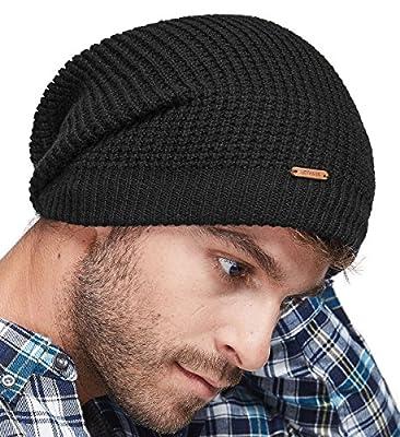LETHMIK Merino Wool Slouchy Beanie,Mens&Womens Long Winter Hat Mesh Knit Cap Skully