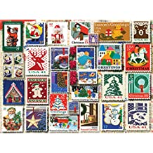 White Mountain Puzzles 1262 Christmas Stamps, 1000 Piece Jigsaw Puzzle