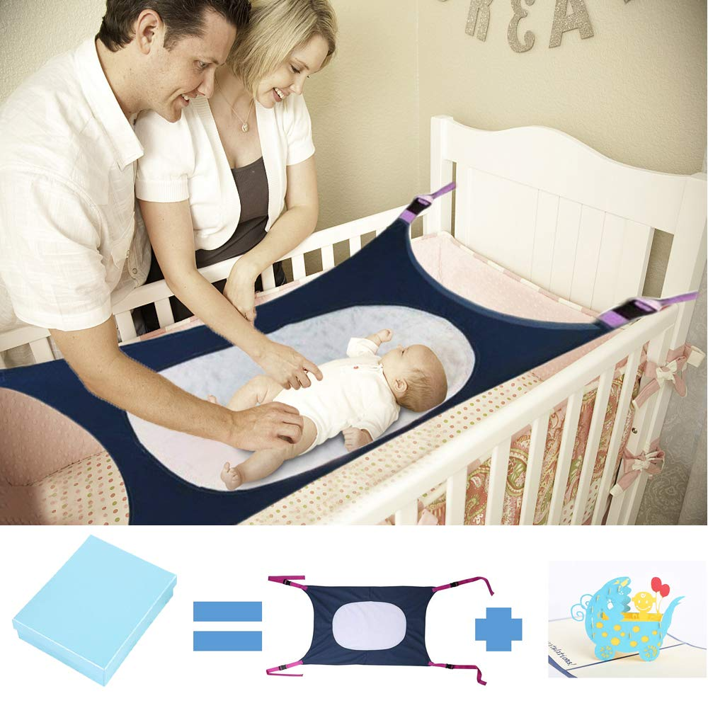 Newborn Baby Hammock for Crib Kids Hammock Baby Crib Hammock for Crib Bassinet Hammock Bed Infant Safety Bed Strong Oxford Material with Double-Layer Breathable Supportive Mesh 33lbs (Dark Blue) by Tforester Ⓡ US (Image #1)