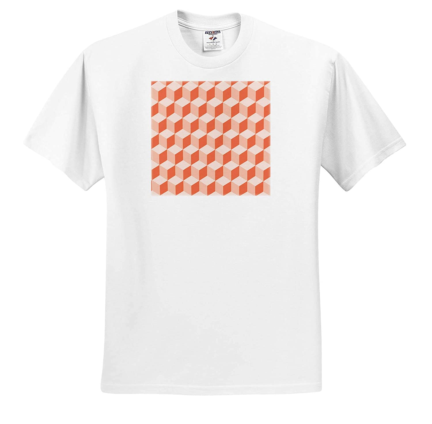 Digital Art Abstract Pattern Diamond Repeating Pattern in Living Coral 3dRose Taiche T-Shirts