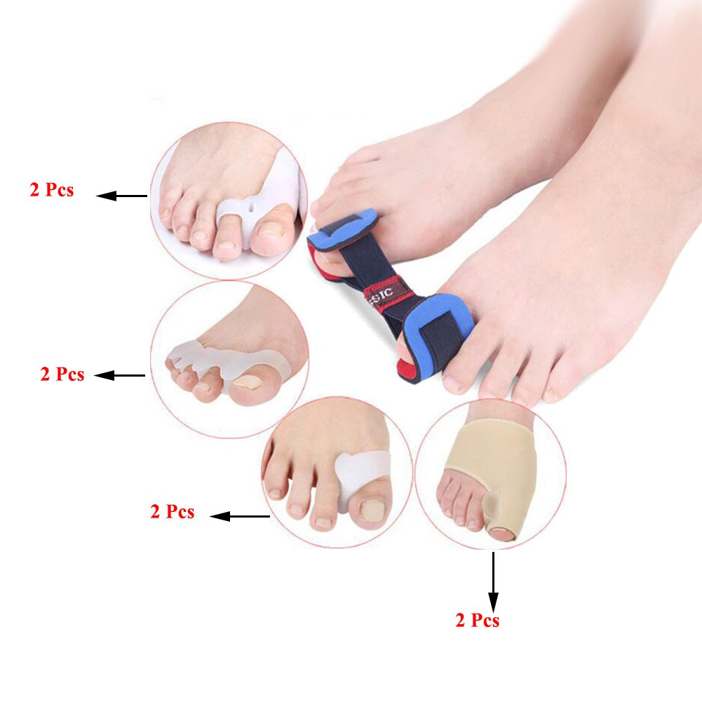 Ibnotuiy Bunion Corrector Kit - Cure Pain in Hallux Valgus, Big Toe Joint, Hammer Toe, Tailors Bunion, Toe Separators Spacers Straighteners Splint Aid Surgery Treatment, 9 Pcs in All