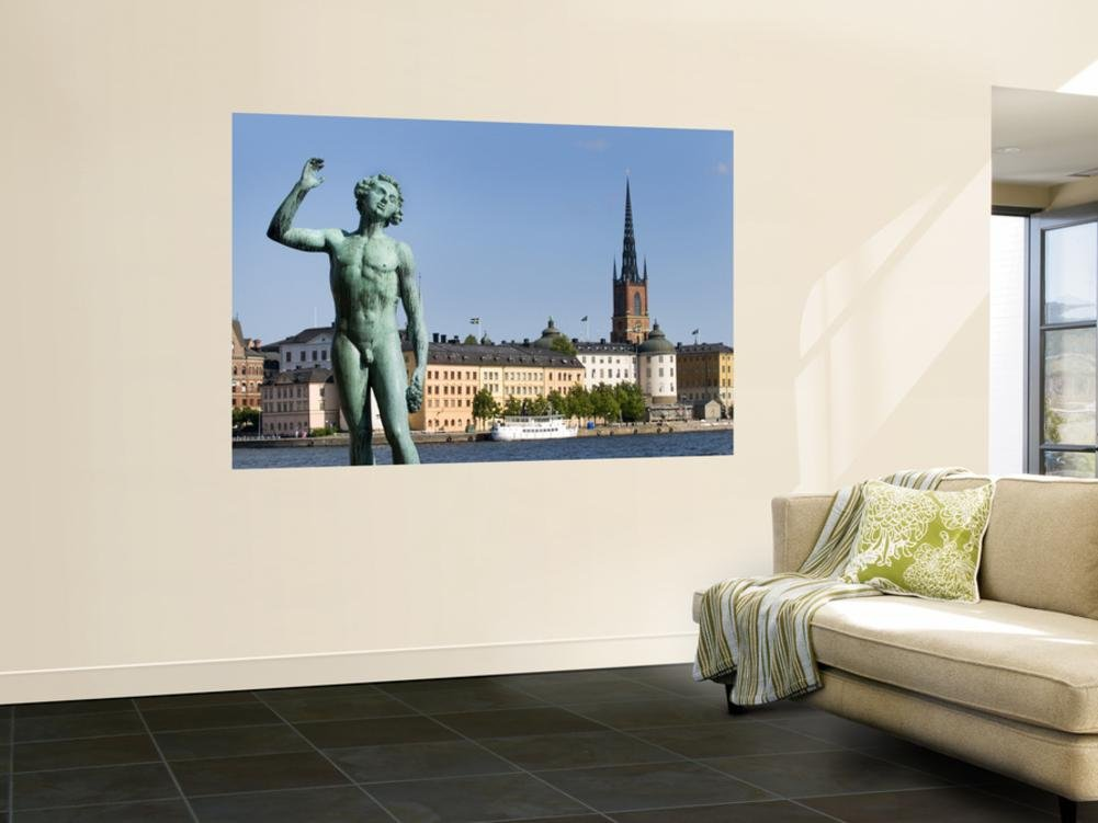Bronze Statue Sangen'' Outside Stockholm City Hall (Stadshuset)'' Wall Mural by Rachel Lewis 48 x 72in by LONELY PLANET