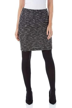 9c92df9172 Roman Originals Women Textured Pencil Above Knee Length Skirt - Ladies  Elasticated Waist Fashion Bodycon Smart