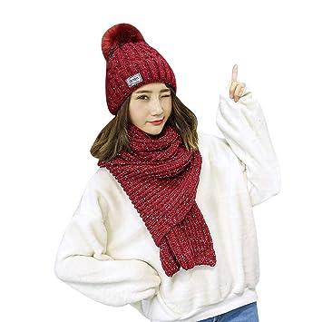 780c2a01bd67 iSpchen Thermique Ensemble Hiver en Tricot écharpe et Bonnet pour Femme  Fille(Vin Rouge)