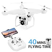 40Mins Flight Time Drone, JJRC H68 RC Drone with 720P HD Camera Live Video FPV Quadcopter with Headless Mode, Altitude Hold Helicopter with 2 Batteries(20Mins + 20Mins)-White