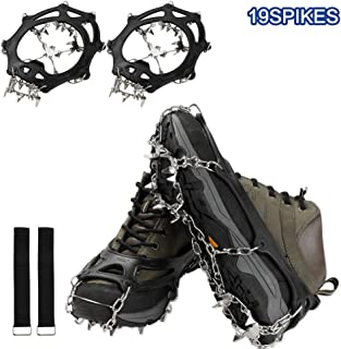 EXTSUD Snow Spikes Grips Stainless Steel Anti Slip Ice Cleats Shoe Boot Walking, Jogging Hiking on Snow Ice