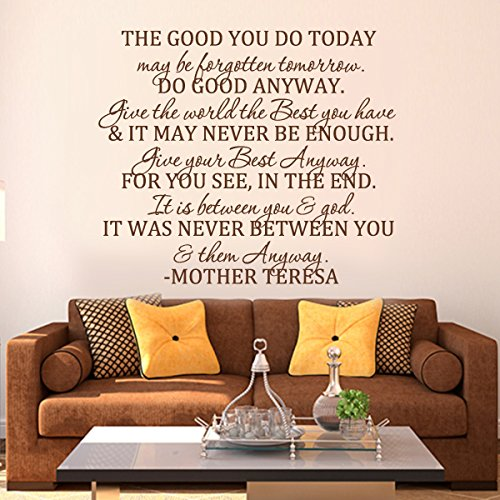 MairGwall The Good You Do Today -Do Good Anyway -Mother Teresa Quote Bible Verse Religious Decal Home Decor Living Room Sticker(X-Large,Black)