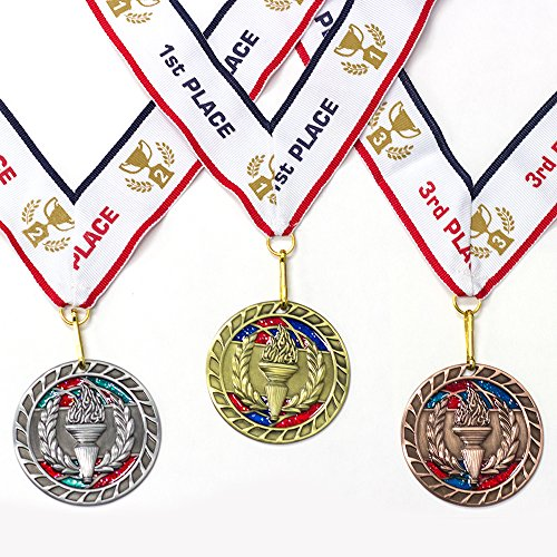 All Quality 1st 2nd 3rd Place Victory Award Medals - 3 Piece Set (Gold, Silver, Bronze) Includes Ribbon