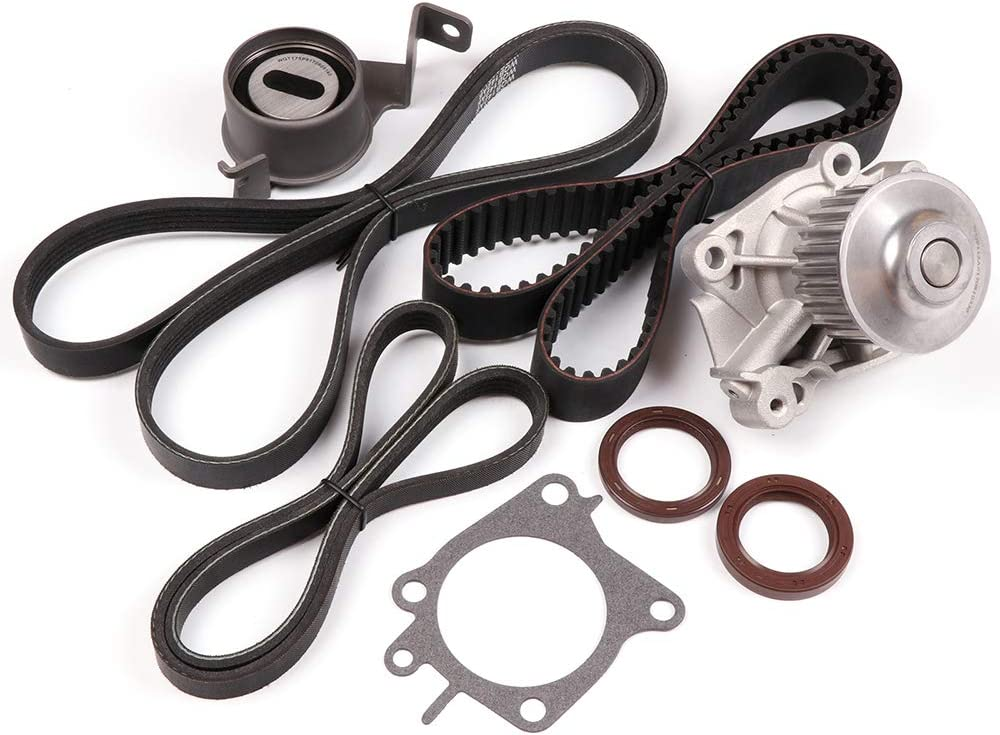 Compatible for 2002 2003 2004 2005 2006 2007 Mitsubishi Lancer OCPTY Timing Belt Kit Including Timing Belt Water Pump with Gasket tensioner Bearing etc