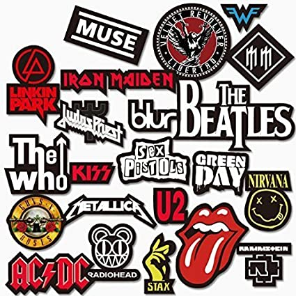 Picktheguitar stickers for rock or metal band logos style 1