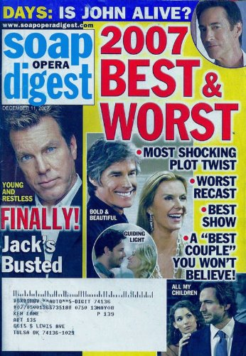 *** BEST & WORST OF 2007 ISSUE! *** Ronn Moss, Katherine Kelly Lang, Bold and the Beautiful, Peter Bergman - December 11, 2007 Soap Opera Digest Magazine [VERY COLLECTIBLE!]