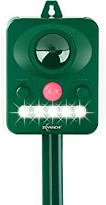 ZOVENCHI Ultrasonic Dog Chaser,Animal Deterrent with Motion Sensor and Flashing Lights Outdoor Solar Farm Garden Yard Repellent,Dogs, Cats, Birds, Squirrel, Raccoon, Skunk, Rat, Mole, Deer, Rabbit