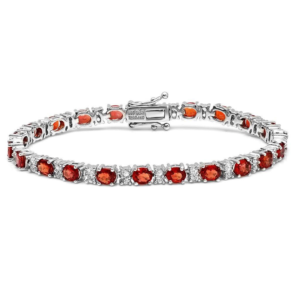 12.00 Carat (ctw) Sterling Silver Oval & Round Genuine Red Sapphire & White Topaz Ladies Tennis Bracelet