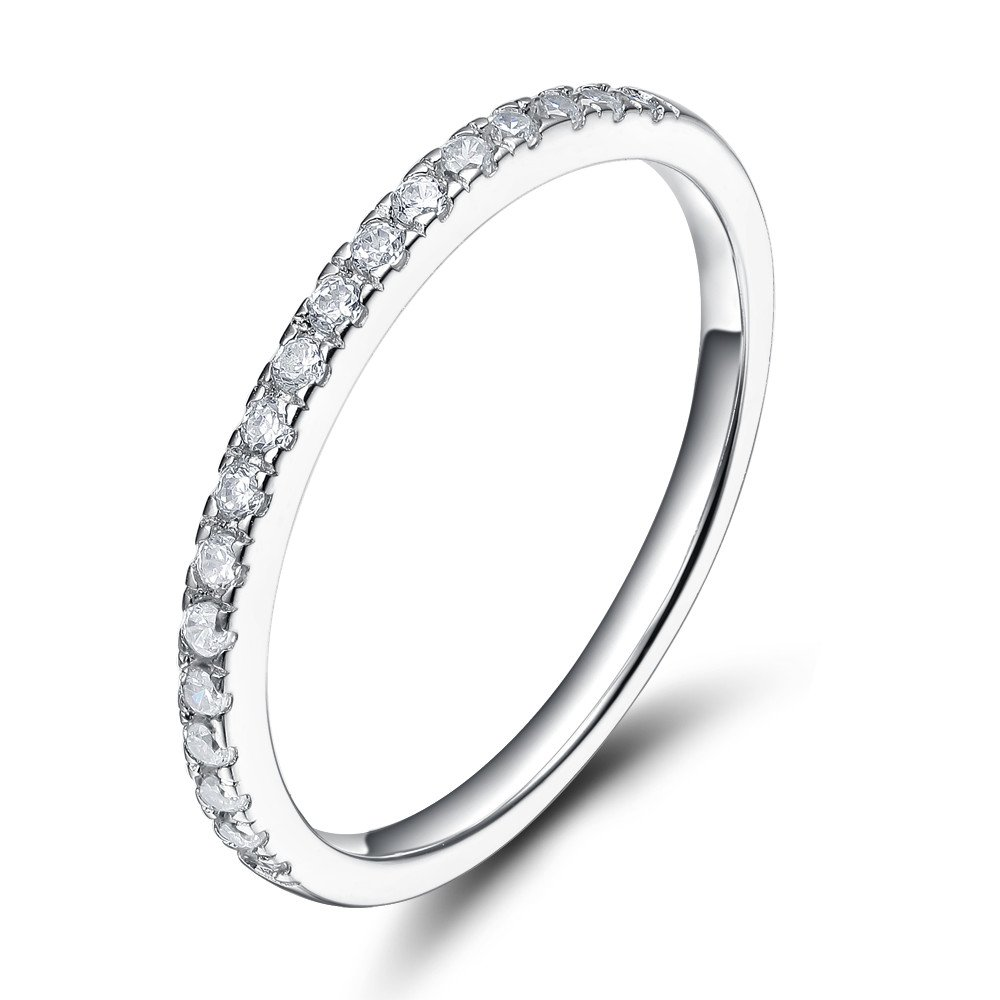 EAMTI 2mm 925 Sterling Silver Wedding Band Cubic Zirconia Half Eternity Stackable Engagement Ring (Silver, 4.5)