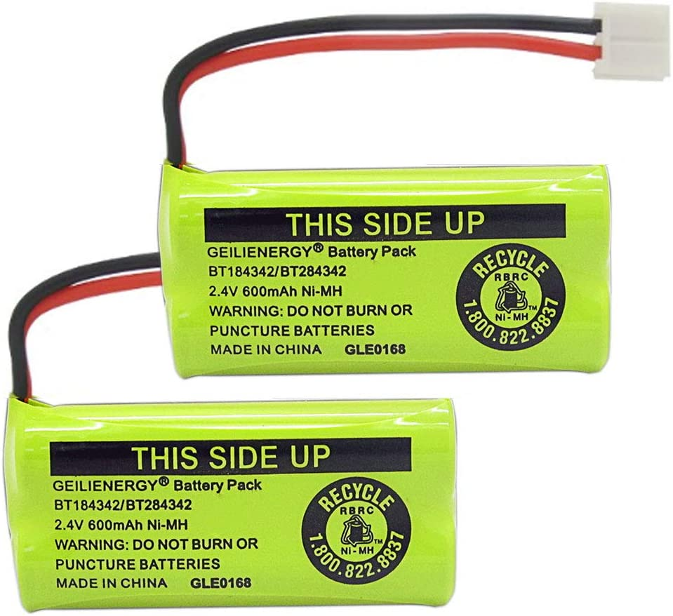 GEILIENERGY 2.4V Rechargeable Batteries Compatible with AT&T/Lucent BT18433 BT184342 BT-18433 BT-184342 BT-28433 BT-284342 BT-1011 BT-6010 BT-8000 BT-8001 BT-8300 Empire CPH-515D CPH515D(Pack of 2)