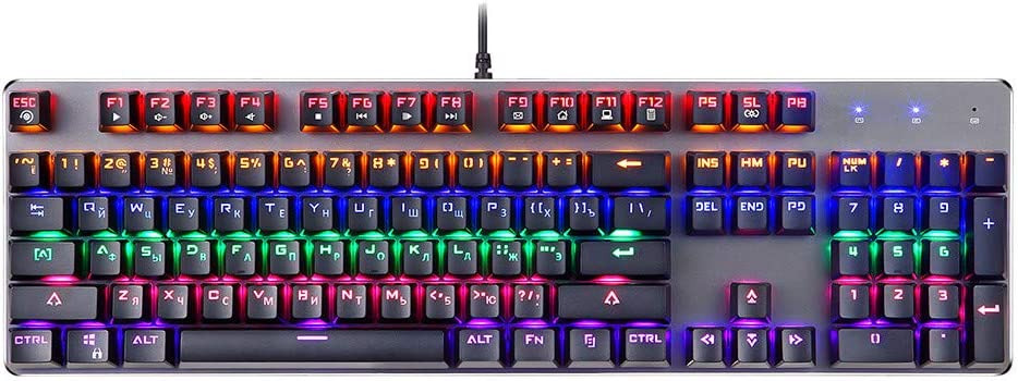 for PC//MAC//Computer//Desktop for Programmer Gamer Typist LINGLONGAN Wired Russian Gaming Mechanical Keyboard Blue Switches 104 Keys with LED Ergonomic Stand Plug and Use
